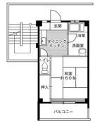 1K ผังห้องของ Village House Yashita ที่ Hekinan-shi