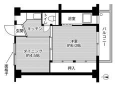 mặt bằng sàn 1DK của Village House Nishimachi ở Takatsuki-shi