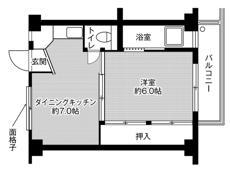 1DK ผังห้องของ Village House Niki ที่ Okazaki-shi