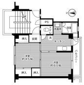 2K ผังห้องของ Village House Kannabe Dai 2 ที่ Fukuyama-shi