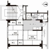 2K ผังห้องของ Village House Shigei ที่ Onomichi-shi