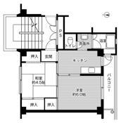 mặt bằng sàn 2K của Village House Yamoto ở Higashimatsushima-shi