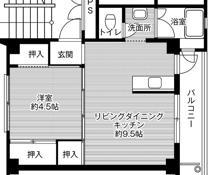 1LDK floorplan of Village House Kinkai in Nagasaki-shi