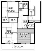 2DK ผังห้องของ Village House Daishuku ที่ Toride-shi