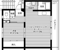 1LDK floorplan of Village House Araki in Kurume-shi