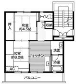 2DK floorplan of Village House Ishige in Joso-shi
