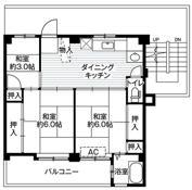 mặt bằng sàn 3DK của Village House Tokiwadai ở Yokohama-shi