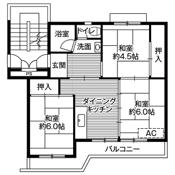 3DK floorplan of Village House Araki in Kurume-shi