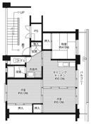 mặt bằng sàn 3DK của Village House Daiwa ở Mihara-shi