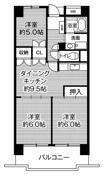 3DK ผังห้องของ Village House Takamigaoka Tower ที่ Higashihiroshima-shi