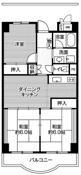 mặt bằng sàn 3DK của Village House Shibaura Tower ở Tokyo 23 wards