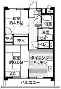 mặt bằng sàn 2DK của Village House Mukoudai Tower ở Nishitokyo-shi
