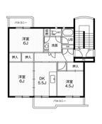 3DK ผังห้องของ Village House Inokuchi ที่ Inazawa-shi
