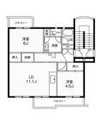 2LDK ผังห้องของ Village House Inokuchi ที่ Inazawa-shi