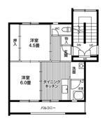 2DK floorplan of Village House Tsurugaya 5 Chome in Sendai-shi